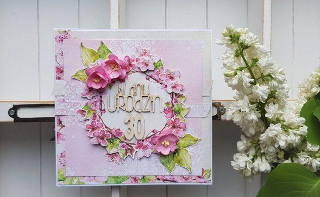 409. Kartka urodzinowa z kwiatami wiśni