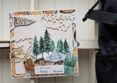kartka ślubna dla miłośników gór i rowerów
