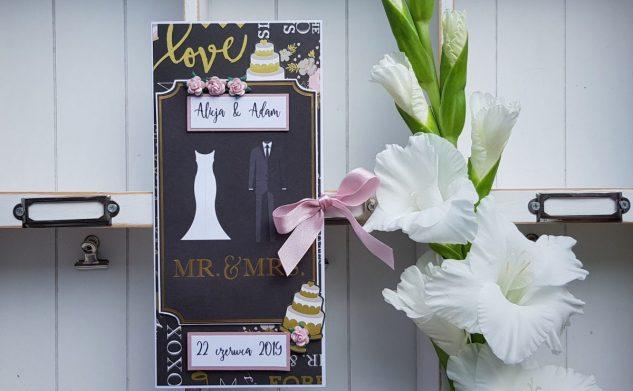 432. Elegancka kartka ślubna