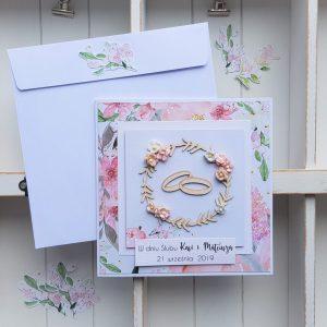 Kartka ślubna z obrączkami