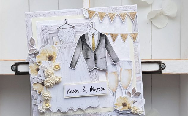 486. Suknia ślubna i garnitur