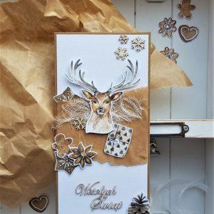Kartka świąteczna z jeleniem