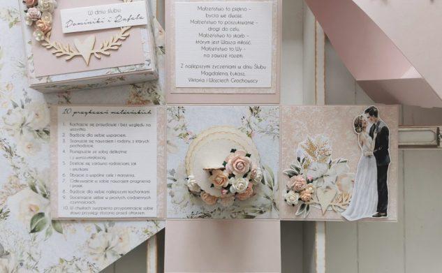 626. Różowy box ślubny w nosidełku