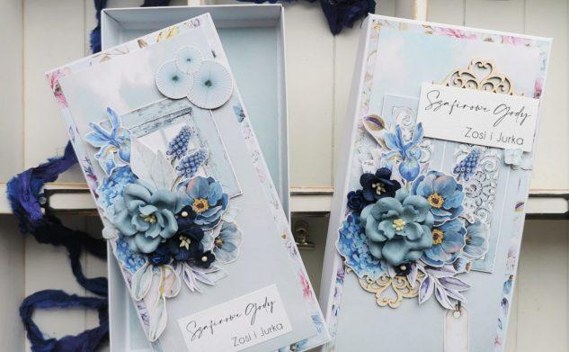 637. Kartka w pudełku na Szafirową rocznicę ślubu