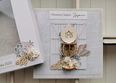 Kartka w pudełku z okazji I Komunii Świętej dla chłopca